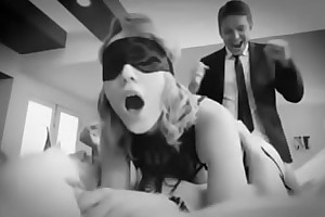 Blindfolded hotwife sharing roughly friend and doble profoundness