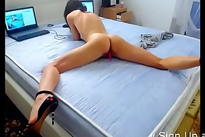 European cosset squirts &_ orgasms on webcam show
