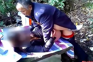 Chinese Grandpa Fucks Granddaughter in a greens