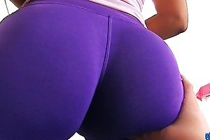 BIG Lousy with Tight SPANDEX MAID has Morose Cameltoe n Heavy Tits.