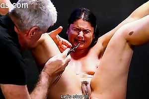 Slave reeducated with clamps plus appal