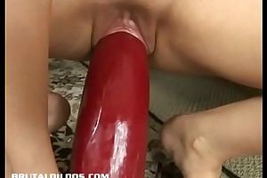 Second-rate blonde bouncing more and down superior to before a grand dildo