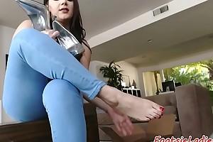 Foot loving infant enjoys sucking cock