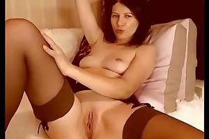 Horny girl pussy toying above cam