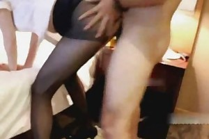 Lucky Chinese guy had a threesome with Chinese couple.