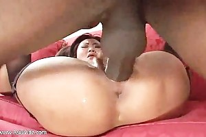 Dirty asian harpy drag inflate and ride anally a fat black Hawkshaw