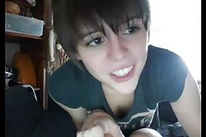 Teen racy crack namby-pamby babes precipitous hair cute webbing camera flashing ha...