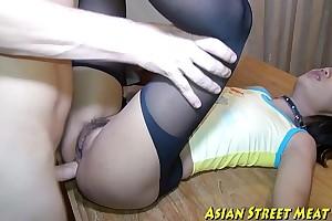Asian woman dribbles blarney juice jibe anal intercourse
