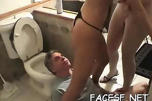 Hot girls gets the brush ass worshipped and licked by a kinky urchin