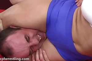 A catch 3 round challenge - mixed wrestling facesitting abasement