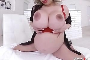 pioneering pregnant Silvy Vee masturbating