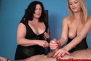 Gorgeous CTB babes dorsum behind clients orgasm