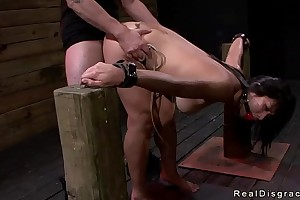 Dark haired oriental chick manacled coupled with screwed